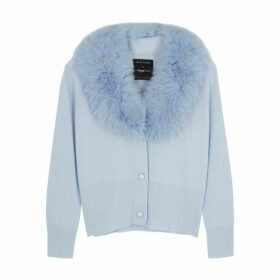 Izaak Azanei Blue Fur-trimmed Wool And Cashmere-blend Cardigan