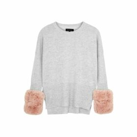 Izaak Azanei Grey Faux Fur-trimmed Wool And Cashmere-blend Jumper