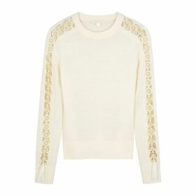 Jonathan Simkhai White Open-sleeve Wool Jumper