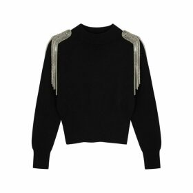 Christopher Kane Black Embellished Merino Wool Jumper