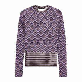 Paco Rabanne Purple Geometric Metallic-knit Top