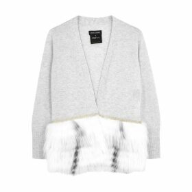 Izaak Azanei Grey Fur-trimmed Wool-blend Cardigan
