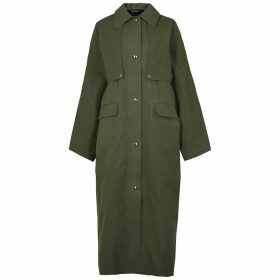Kassl Editions Army Green Reversible Waxed Cotton Trench Coat
