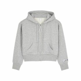 Adam Selman Sport Grey Cropped Cotton-blend Sweatshirt