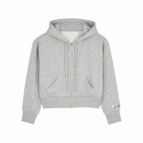 Adam Selman Sport Grey Cropped Cotton-blend Sweatshirt