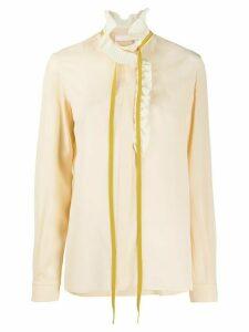 Chloé frilled neck tie blouse - NEUTRALS