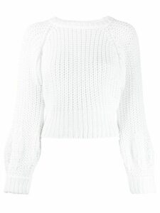 Maison Flaneur chunky knit cropped jumper - White