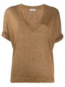 Brunello Cucinelli sequin-embellished knitted top - Brown
