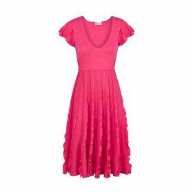 RED Valentino Pink Ruffle-trimmed Stretch-knit Midi Dress