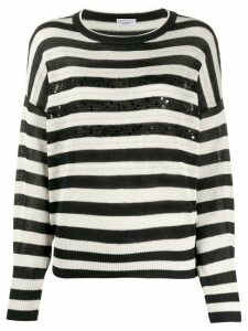 Brunello Cucinelli striped knit jumper - White
