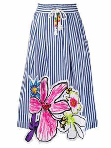 Mira Mikati floral patch striped shirt - Blue
