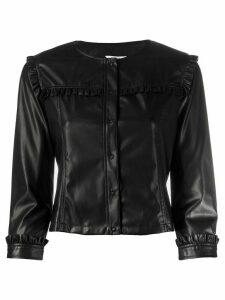 LIU JO frill detail collarless jacket - Black