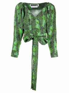 ROTATE snake print wrap-tie blouse - Green