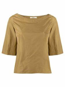 Odeeh crepe effect bell sleeve top - Brown