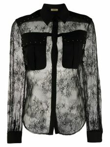LIU JO sheer floral lace blouse - Black