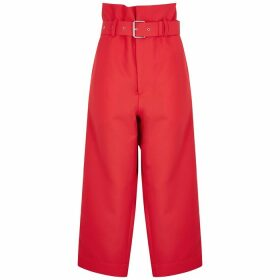 Plan C Red Wide-leg Cropped Twill Trousers