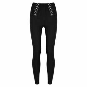Adam Selman Sport Black Lace-up Leggings
