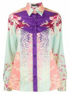 Etro floral print colour block shirt - Blue