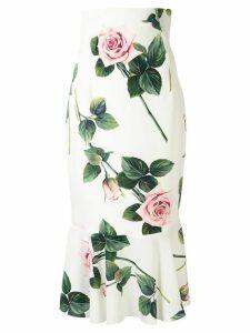Dolce & Gabbana tropical rose print midi skirt - White