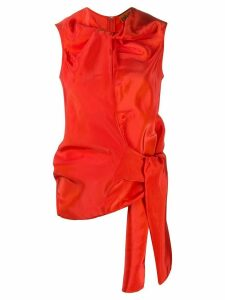 colville tie waist blouse - ORANGE