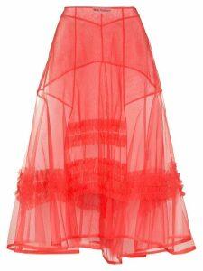 Molly Goddard frilled A-line midi skirt - PINK