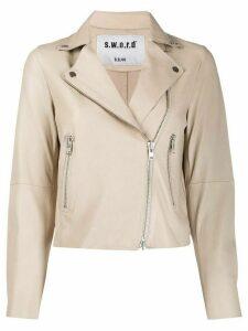 S.W.O.R.D 6.6.44 leather short biker jacket - NEUTRALS