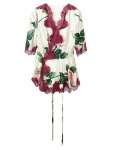 Dolce & Gabbana rose print blouse - White