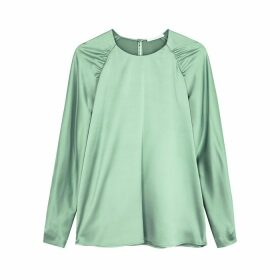 BOSS Bergitta Green Ruched Stretch-silk Blouse
