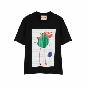 Plan C Black Printed Cotton T-shirt