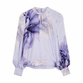 Baum Und Pferdgarten Lilac Floral-print Stretch-silk Blouse