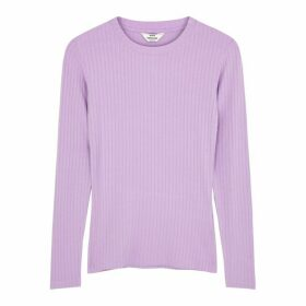 Mads Nørgaard Tuba Lilac Ribbed Stretch-jersey Top