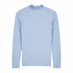 Mads Nørgaard Trutte Light Blue Stretch-jersey Top