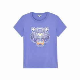 Kenzo Purple Tiger-print Cotton T-shirt