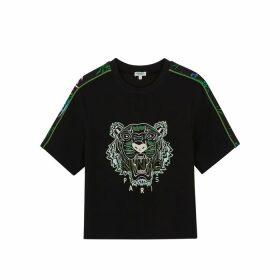 Kenzo Black Tiger-embroidered T-shirt