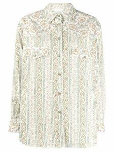 Etro floral paisley print twill shirt - White