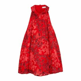 Alice + Olivia Ingrid Red Floral Devoré Chiffon Top