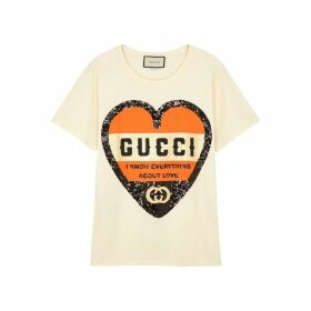 Gucci Cream Sequin-embellished Cotton T-shirt