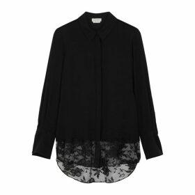Alexander McQueen Black Lace-trimmed Silk-chiffon Blouse
