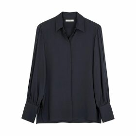 THE ROW Oni Navy Silk Blouse