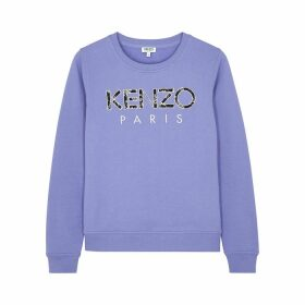 Kenzo Purple Logo-embroidered Cotton Sweatshirt