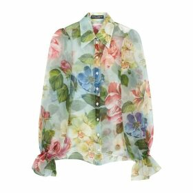 Dolce & Gabbana Light Blue Silk-organza Blouse
