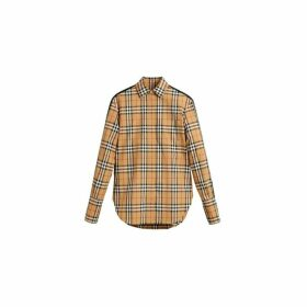 Burberry Stripe Detail Vintage Check Cotton Shirt