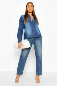 Womens Oversized Mock Horn Button Denim Shirt - blue - 16, Blue