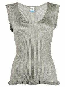 M Missoni ribbed ruffle trim top - SILVER