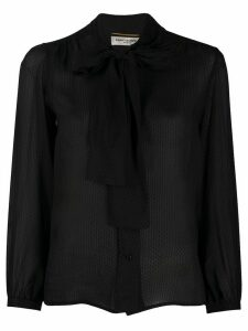 Saint Laurent textured pussy-bow fastening blouse - Black