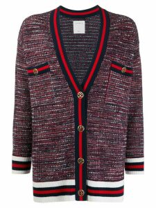 Sandro Paris tweed effect braid trim cardigan - Blue