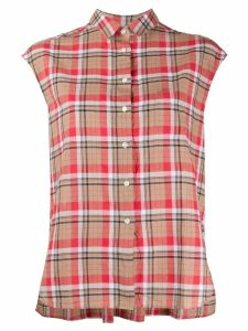 Aspesi sleeveless check shirt - NEUTRALS
