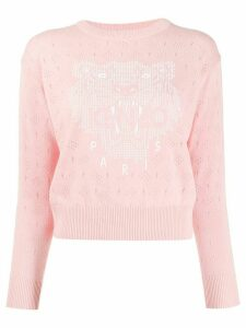 Kenzo tiger-print pointelle knit sweater - PINK