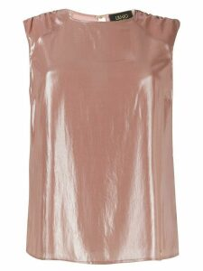 LIU JO laminated round neck top - PINK