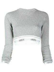 Aries logo-print cropped top - Grey